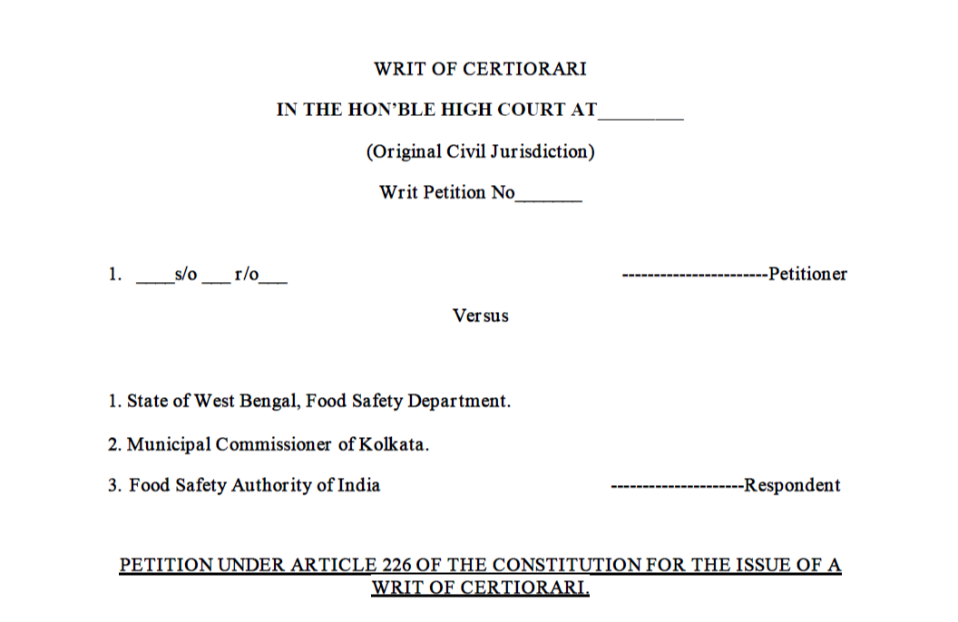 Format of the Writ of Certiorari