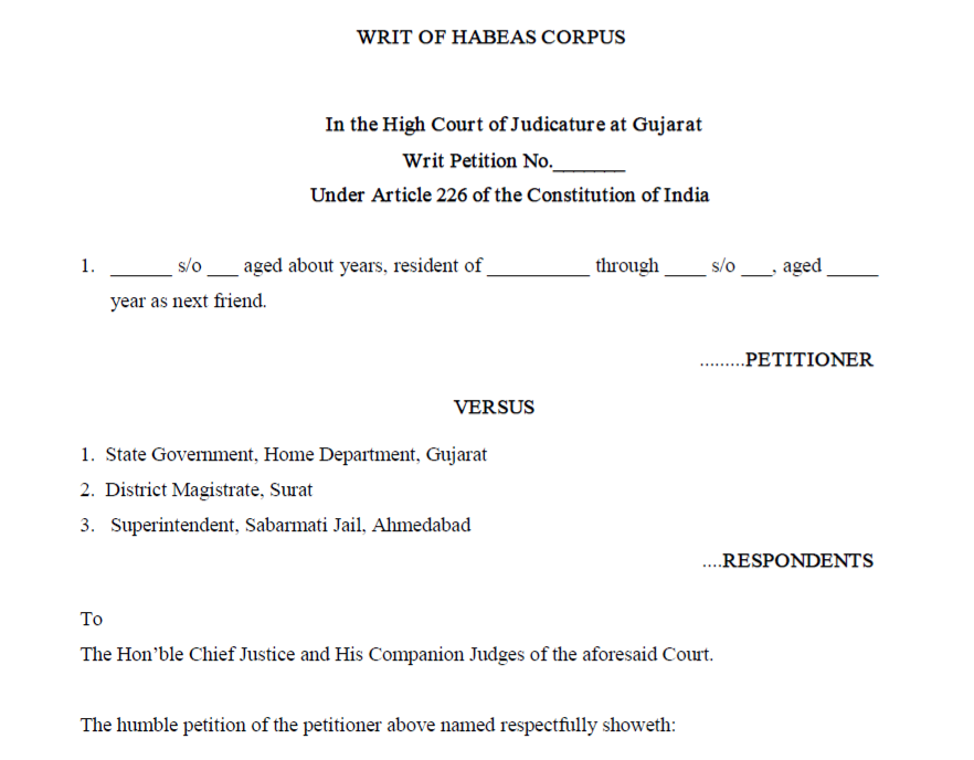 Format of the Writ of Habeas Corpus