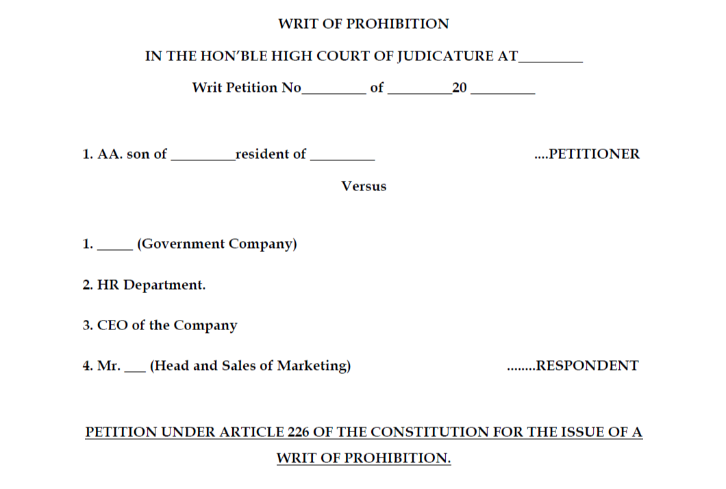 Format of the Writ of Prohibition