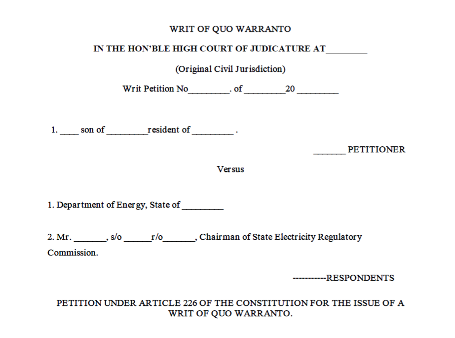 Format of the Writ of Quo-Warranto
